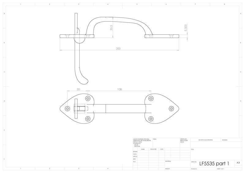 Ludlow Foundries LF5535 Black Antique Thumb Latch Handle Set Dimensions
