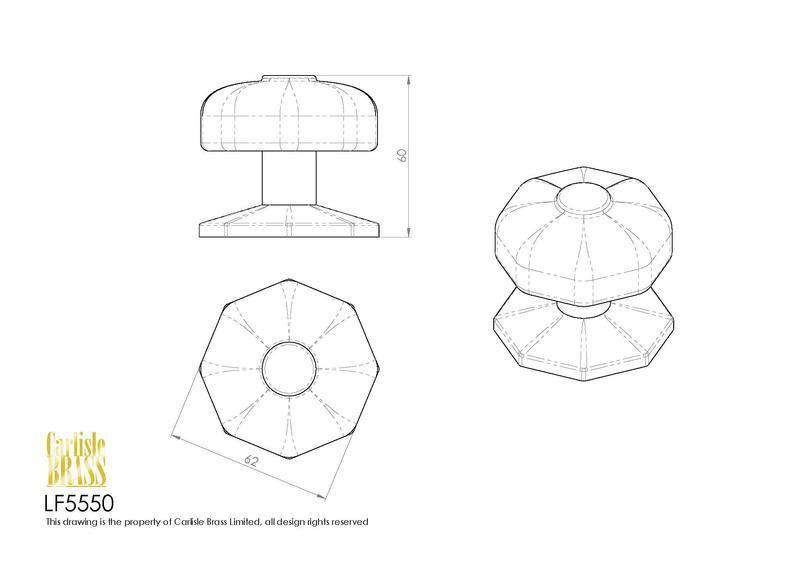 Ludlow Foundries LF5550 Black Antique Centre Door Knob Dimensions