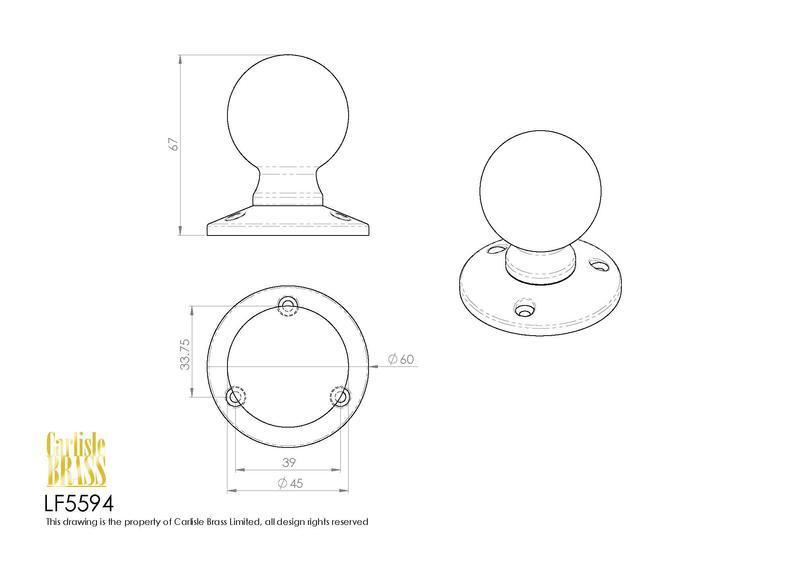 Ludlow Foundries LF5594 Black Antique Ball Mortice Knob Set Dimensions