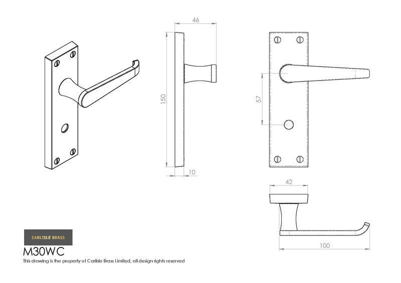 Carlisle Brass M30WC Polished Brass Door Handles Dimensions