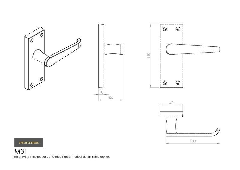Carlisle Brass M31 Polished Brass Door Handles Dimensions