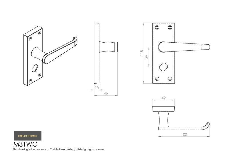 Carlisle Brass M31WCCP Polished Chrome Door Handles Dimensions