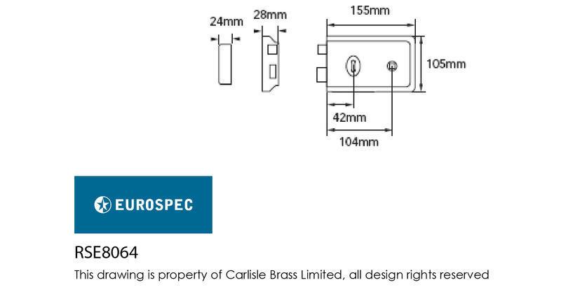 Eurospec RSE8064 Rim Sashlock in Polished Brass Dimensions