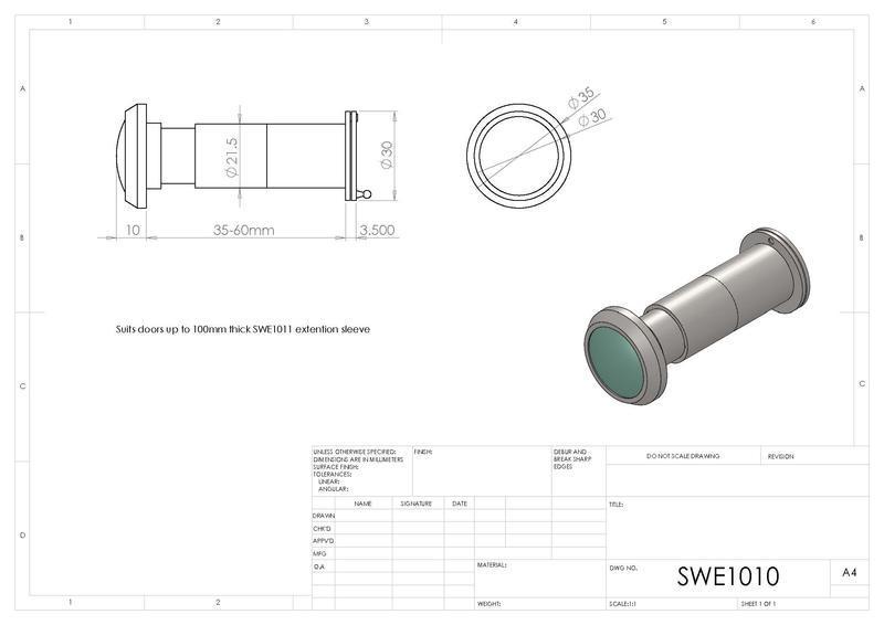 Eurospec SWE1010 Door Viewer in Satin Stainless Steel Dimensions