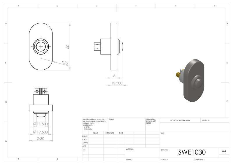 Eurospec SWE1030 Oblong Bell Push in Satin Stainless Steel Dimensions
