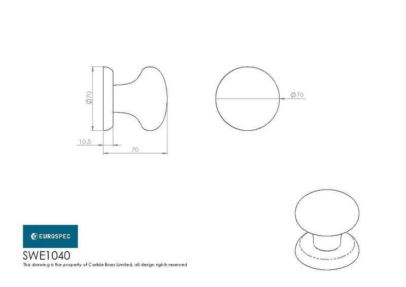 Eurospec SWE1040 Centre Door Knob in Satin Stainless Steel Dimensions