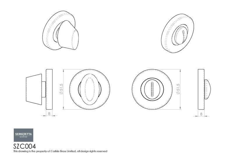 Serozzetta SZC004 Bathroom Turn and Release in Satin Chrome Dimensions