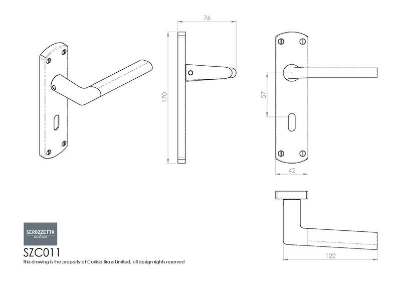 Carlisle Brass SZC011 Satin Chrome Door Handles Dimensions