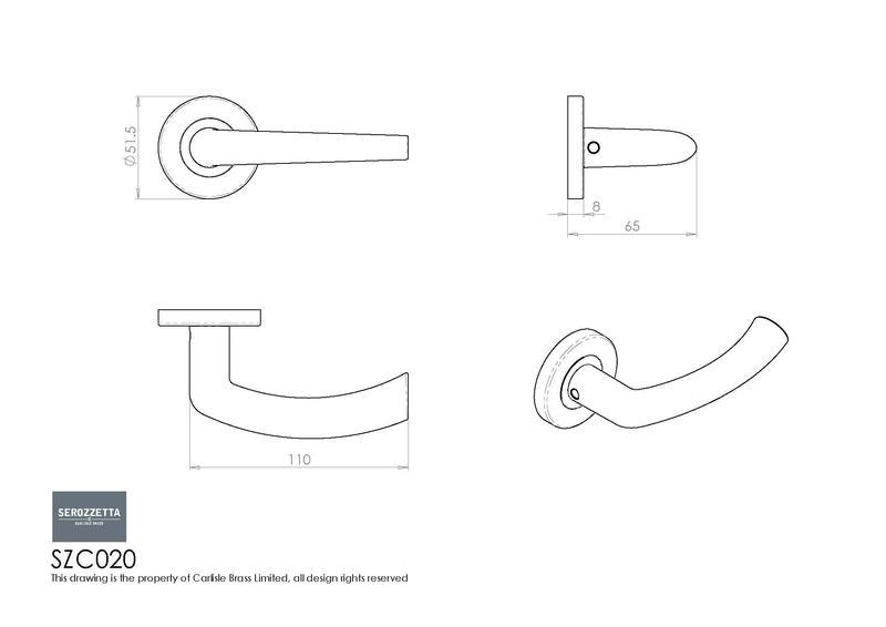 Carlisle Brass SZC020 Satin Chrome Door Handles Dimensions