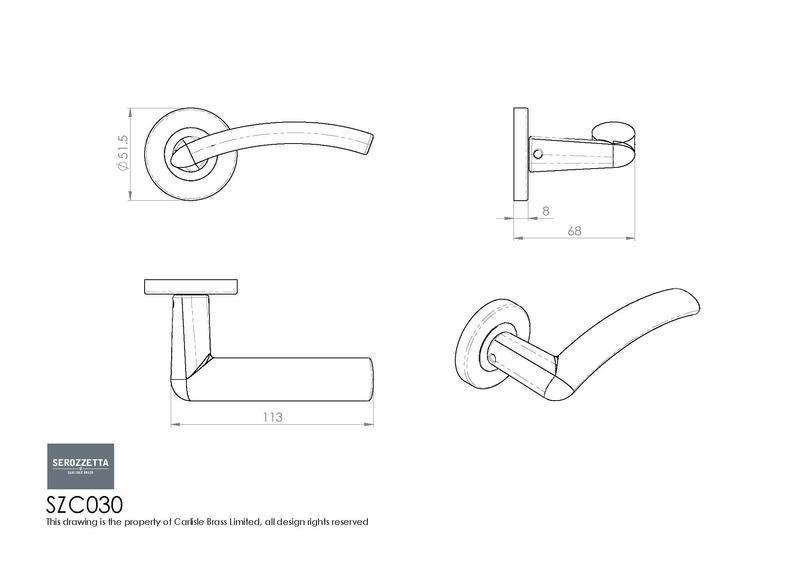 Carlisle Brass SZC030 Polished Chrome Door Handles Dimensions