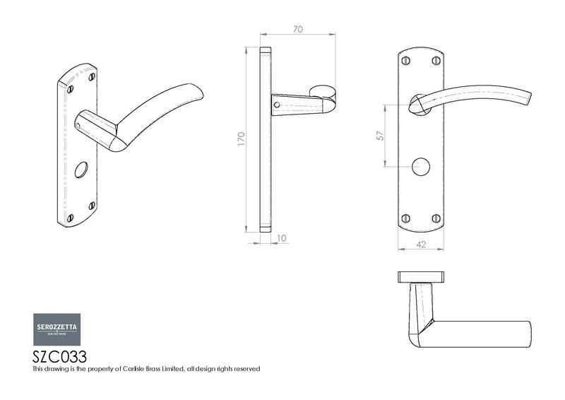 Carlisle Brass SZC033 Polished Chrome Door Handles Dimensions