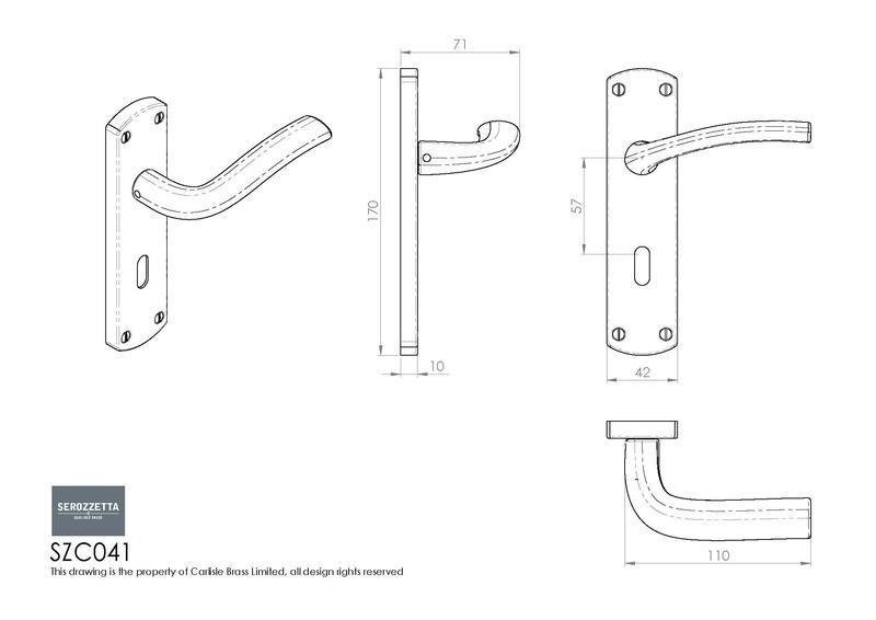 Carlisle Brass SZC041 Polished Chrome Door Handles Dimensions