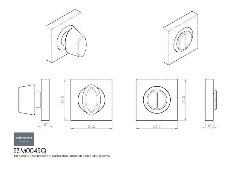 Serozzetta SZM004SQ Bathroom Turn & Release Dimensions
