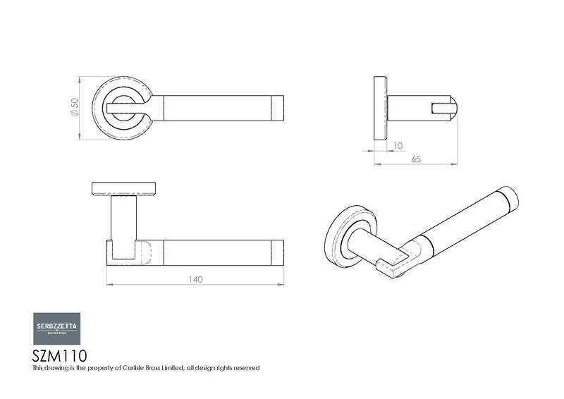 Serozzetta SZM110SCCP Chrome Door Handles Dimensions