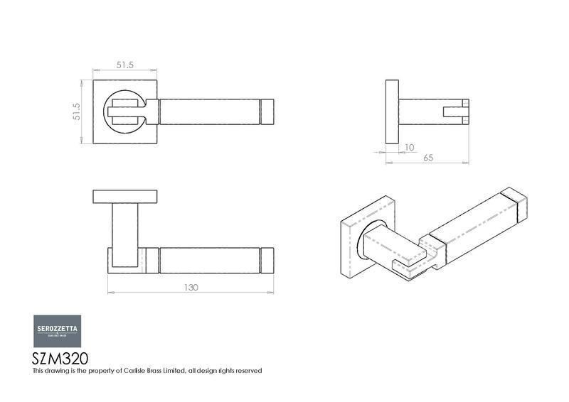 Serozzetta SZM320 Door Handles Dimensions