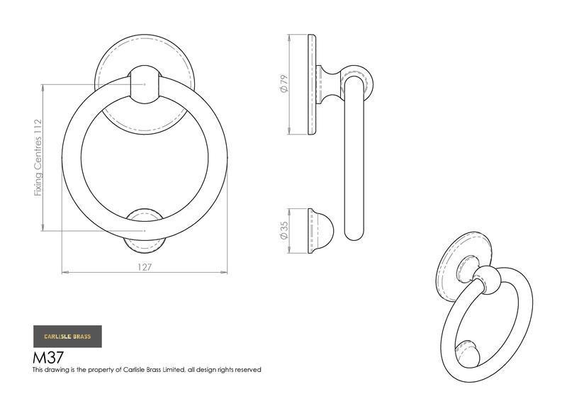 Carlisle Brass M37 Polished Brass Ring Door Knocker Dimensions