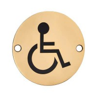 Disabled Toilet Sign Symbol 76mm Diameter Brass £4.32