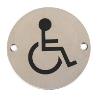 Disabled Toilet Sign Symbol 76mm Diameter PSS £3.78
