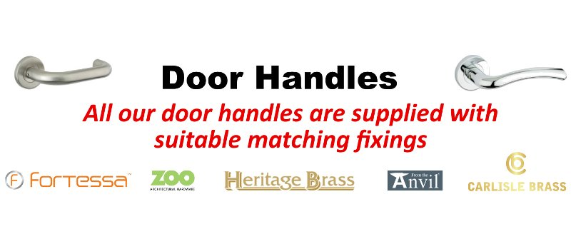 A range of external and internal door handles supplied by Cookson Hardware.