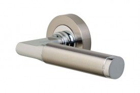Door Handles Vision Designer Auriga Lever on Round Rose Polished Chrome & Satin Nickel 5204 £13.26