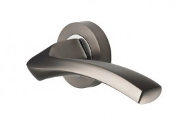 Door Handles Vision Designer Auva Lever on Round Rose Graphite & Polished Chrome 5201 £13.26