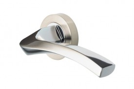 Door Handles Vision Designer Auva Lever on Round Rose Polished Chrome & Satin Nickel 5201 £13.26