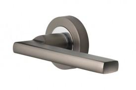Door Handles Vision Designer Vela Lever on Round Rose Graphite & Polished Chrome 5200 £13.26
