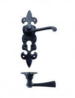 Foxcote Foundries FF611EP Fleur De Lys Euro Profile Lock Door Handles Black Antique £15.43