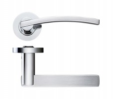 Zoo Door Handles Adria Lever on Screw on Rose Dual Finish Satin & Polished Chrome £15.79