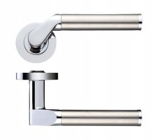 Zoo Door Handles Venus Lever on Screw On Rose Dual Finish Polished Chrome & Satin Stainless £15.78
