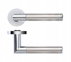 Zoo Door Handles Luna Lever on Screw On Rose Dual Finish Polished Chrome & Satin Stainless £15.78