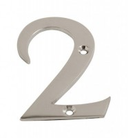 75mm Door Number 2 Polished Chrome £1.80