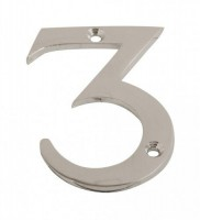 75mm Door Number 3 Polished Chrome £1.80