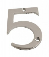 75mm Door Number 5 Polished Chrome £1.80