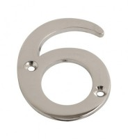 75mm Door Number 6 Polished Chrome £1.80