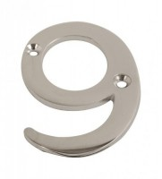 75mm Door Number 9 Polished Chrome £1.80