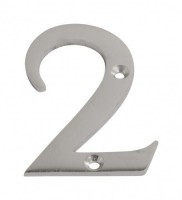 75mm Door Number 2 Satin Chrome £2.98