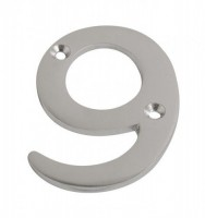 75mm Door Number 9 Satin Chrome £2.98