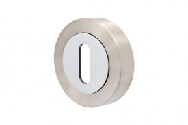 Escutcheon Standard Lever Key Vision Designer Polished Chrome & Satin Nickel 5351 £3.35