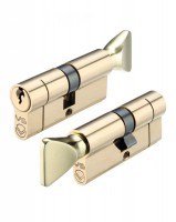 Vier Euro Cylinder & Turn 80mm 5 pin Polished Brass £11.97
