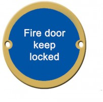 Fire Door Keep Locked Sign 76mm Dia BS5499 Brass £4.90