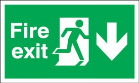 Fire Exit Sign Running Man Arrow Down 300 x 100mm BS12 Rigid Self Adhesive BS5499 £5.77