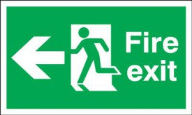 Fire Exit Sign Running Man Arrow Left 450 x 150mm BS2 Rigid Self Adhesive BS5499 £7.02