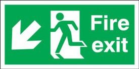 Fire Exit Sign Running Man Arrow Left Down 450 x 150mm BS17 Rigid Self Adhesive BS5499 £4.80
