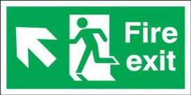 Fire Exit Sign Running Man Arrow Left Up 450 x 150mm BS23 Rigid Self Adhesive BS5499 £4.80