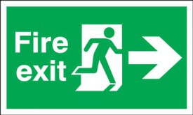 Fire Exit Sign Running Man Arrow Right 450 x 150mm BS5 Rigid Self Adhesive BS5499 £7.02
