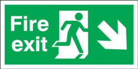 Fire Exit Sign Running Man Arrow Right Down 450 x 150mm BS20 Rigid Self Adhesive BS5499 £4.80