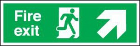 Fire Exit Sign Running Man Arrow Right Up 450 x 150mm BS26 Rigid Self Adhesive BS5499 £4.80