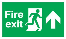 Fire Exit Sign Running Man Arrow Up 300 x 100mm BS9 Rigid Self Adhesive BS5499 £5.77
