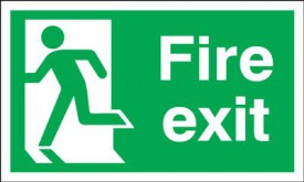 Fire Exit Sign Running Man Left 400 x 200mm BS28 Rigid Self Adhesive BS5499 £7.45